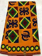 African Kente Prints /African Print Fabric/ African Clothing/ Yellow Orange