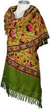 Schal, hand bestickt hand embroidered 100% Wolle wool écharpe Kashmir Grün Green