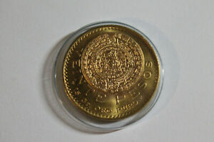 Stunning UNCIRC. 1918 Mexico 20 Pesos Gold Coin AZTEC MAYAN ART 15 Gr. Oro Puro