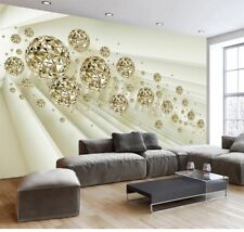 Custom 3D Wallpaper  Mural Stereo Abstract Space Golden Ball Modern Background