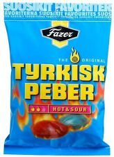 24 x bags of Tyrkisk Peber (Turkish Pepper) Hot & Sour 150g candy Fazer Finland