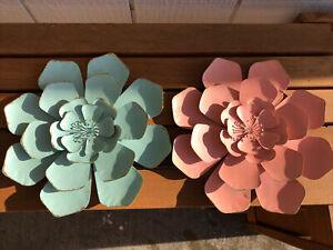 Set of 2 Pastel Metal Flowers LARGE Wall Decor Fence Hanger Garden