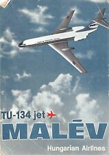 B0163 Aviation Malev TU 134 Hungary Jet Aircraft used 1985  front/back scan