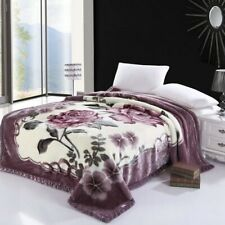 Luxury Flowers Printed Fleece Throw Blanket Warm Thick Bedspread Bed Cover Set