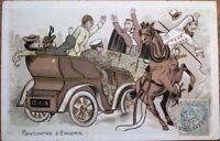 Car/Automobile Crashing into Horse Cart 1905 Color Litho Postcard