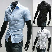 SD09 New Mens Sexy Casual Slim Fit Short Sleeves Dress Shirts US Size S,M,L,XL