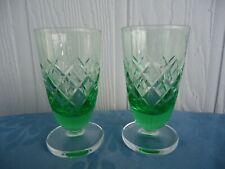 pair vintage 2 art deco green cut crystal port sherry liqueur glasses