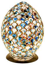 NUOVO Favoloso Medium Mosaico Blu Bianco Shell TILE UOVO lampada da tavolo, scrivania, comodino
