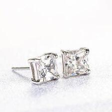 Silver Clear CZ Cubic Zirconia Mens Jewelry Womens Stud Earrings Earings