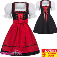 Deluxe Ladies Oktoberfest Costume Red Bavarian Beer Maid Dirndl Fancy Dress