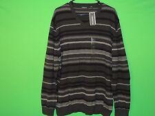 NWT Claiborne Men's Size XL Extra Large Black / Gray Striped Long Slv Sweatshirt