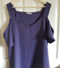 Papaya Collection Womens Top Blouse Cold Shoulder Purple Size UK 20 Silky Floaty