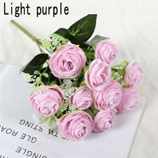 UK 10 Heads Artificial Silk Rose Flowers Fake Bouquet Home Wedding Party Decor #