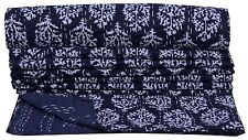 Black Floral Indian Twin Size Kantha Quilt Bedspread Blanket Bedding Throw Ralli