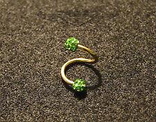 Lippenpiercing, 24 Karat vergoldet, Labret, Grüne Kugeln, Spirale, Gold