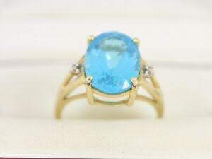 Blue Topaz Solitaire Ring 10K Gold Diamond Ladies Stunning Size O 4g Bj30