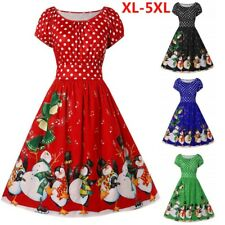 Fashion Womens Vintage Plus Size Dot Print Christmas O-Neck Party Holiday Dress