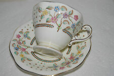 Vtg Foley Tea Cup & Saucer Set Turquoise Yellow Blue Pink + Flowers