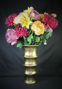 Classy Flower Vase From Colmore Gold Aluminium 42cm High New Container 3,4kg
