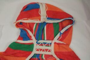 Vintage Striped Multicoloured Cloak with Hood Dreamcoat 60s South American Look
