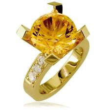 Ring, 0.60Ct Diamonds in 14k Yellow G Large Round Citrene and Diamond Right Hand