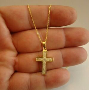 14K YELLOW GOLD OVER 925 STERLING SILVER CROSS NECKLACE PENDANT W/ LAB DIAMONDS