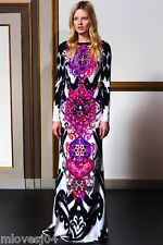 Emilio Pucci Multicolor Suzani Cady Gown Long Silk Dress New BNWT UK 14 IT 46