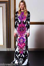 Emilio Pucci multicolor suzani cady robe longue robe de soie nouveau bnwt uk 14 it 46