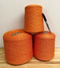Yarn Lot 3+ Rayon Boucle Cones - Rayolla- Orange Knitting, Weaving 7+ Pounds!