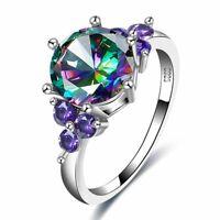 mode chic bunte steine crystal versilbert aaa, zirkon, hochzeit schmuck ringe