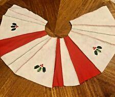 """Christmas Mini Tree Skirt Tabletop 12"""" Appliquéd Felt Craft Project Vintage"""