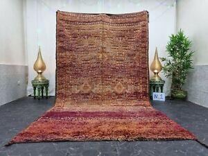 "Moroccan Handmade Vintage Beni Mguild 6'1""x10'3"" Patchwork Purple Orange Carpet"