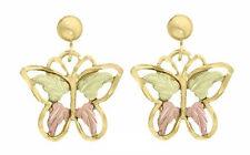 Ladies Dakota Black Hills Gold 4 Leaf Butterfly Stud Earrings KE 069