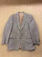 "Men's HARRIS TWEED 42"" Medium Houndstooth Check Blazer Jacket Great Condition"