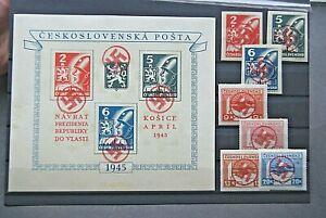 German Stamps. 1945 WWII CZECH SET & M/SHEET WITH WAR OVERPRINT. M/M.