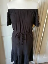 Fatface Charcoal Grey Bardot Dress Size 8