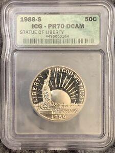 1986-S Statue of Liberty Commemorative Half Dollar ICG PR70 DCAM  perfect grade