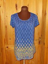 PER UNA cobalt blue navy yellow floral paisley stretch tunic t-shirt top 10 38