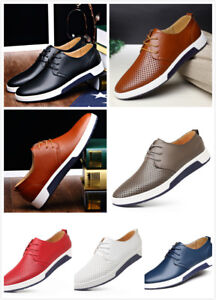 British Mens Casual Genuine Leather Shoes Lace-up Sneakers Oxford Breathable New