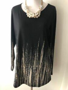 Susan Graver Liquid Knit Border Print Scoop Neck Tunic A239799 - Sz Small