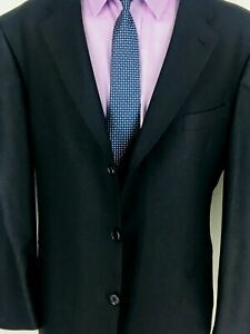 46R Murano Lessona Italy Mens 3 Button Blazer Jacket Charcoal Black *Small Flaw