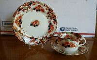 Royal Albert Crown China England floral Tea Cup, Saucer and bread & butter plate