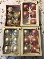 Vntg CHRISTMAS BY KREBS DESIGNER GLASS ball ORNAMENTS w/ CROWN Candy Rose Pearl