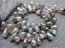 "SHAPED LABRADORITE BRIOLETTES, 5x8mm - 8x13mm, 9"" strand, 55 beads"