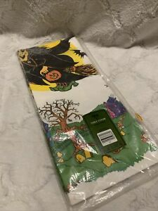 VTG Ambassador Paper Halloween Tablecloth Witch Haunted House New