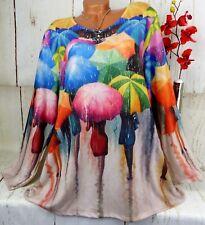 Damen Shirt Tunika Bluse Pullover Top Hemd T-Shirt Schirme Lustig Bunt XXL 46 48