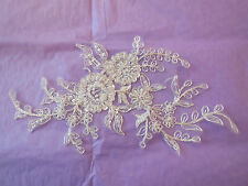 An ivory bridal beaded lace Applique bridal wedding floral lace motif.By piece