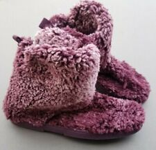 Sonoma Womens Fluffy Sherpa Bootie Slippers Large 9 / 10 New Wine Purple