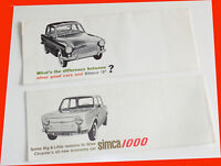 Two Early 1960s Simca U.S. Market Brochures~Simca 5 & Simca 1000~Excellent