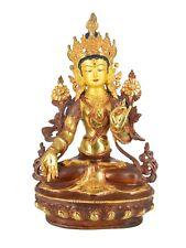 "13"" Gold Plated/Copper White Tara Statue"